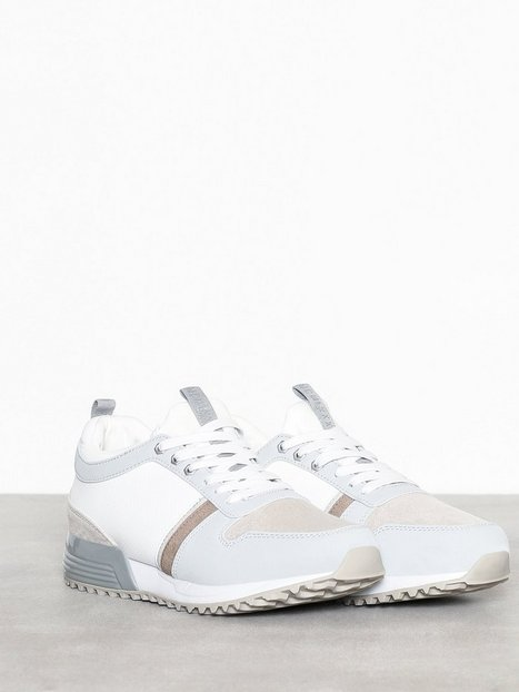 River Island White Sporty Mixed Detail Metal Runner Sneakers White - herre