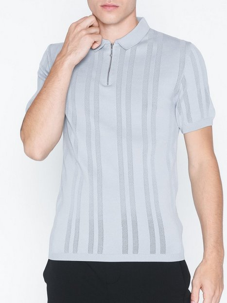 River Island Ss Zip Neck Polo T shirts undertrøjer Grey - herre