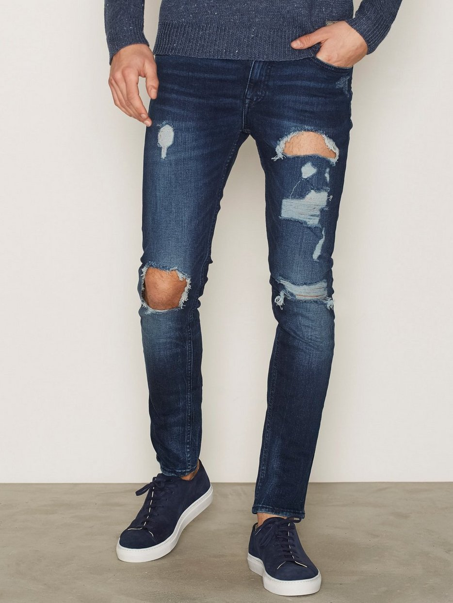 Indigo Rip Distress Skinny Jeans