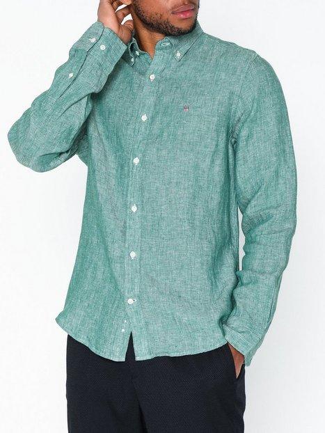 Gant The Linen Shirt Slim Bd Skjorter Ivy Green mand køb billigt