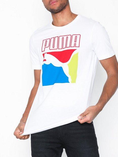 Puma Graphic Box Logo Tee T shirts undertrøjer White mand køb billigt