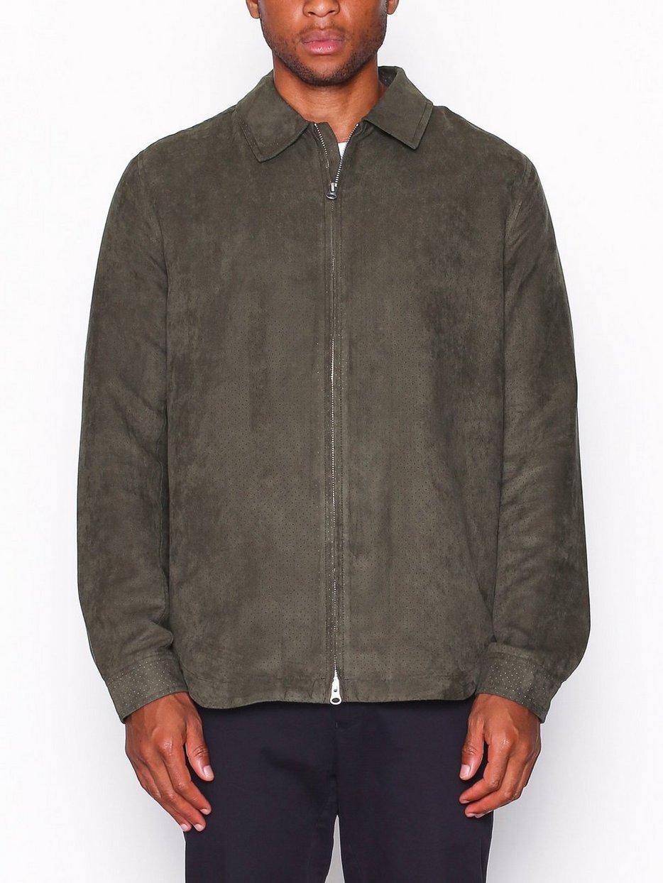 Suede hood jacket